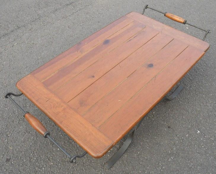Wooden Top Metal Base Industrial Style Coffee Table